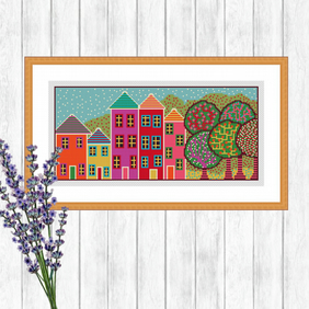 English Street Folk Art Cross Stitch Pattern - ZIP, PDF - E-Mail