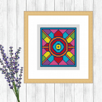 Folk Art Cross Stitch Pattern - ZIP, PDF - E-Mail
