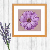 Purple Flower Cross Stitch Pattern - ZIP, PDF - E-MAIL