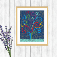 Tree Folk Art Cross Stitch Pattern - ZIP, PDFs - E-Mail