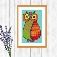 Owl Folk Art Cross Stitch Pattern - ZIP, PDF - E-Mail