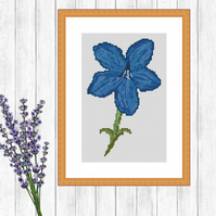 Medieval Blue Flower Cross Stitch - ZIP, PDF - E-Mail