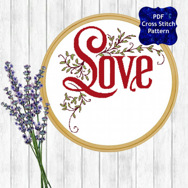Love Sign Cross Stitch Pattern - ZIP, PDF - E-Mail