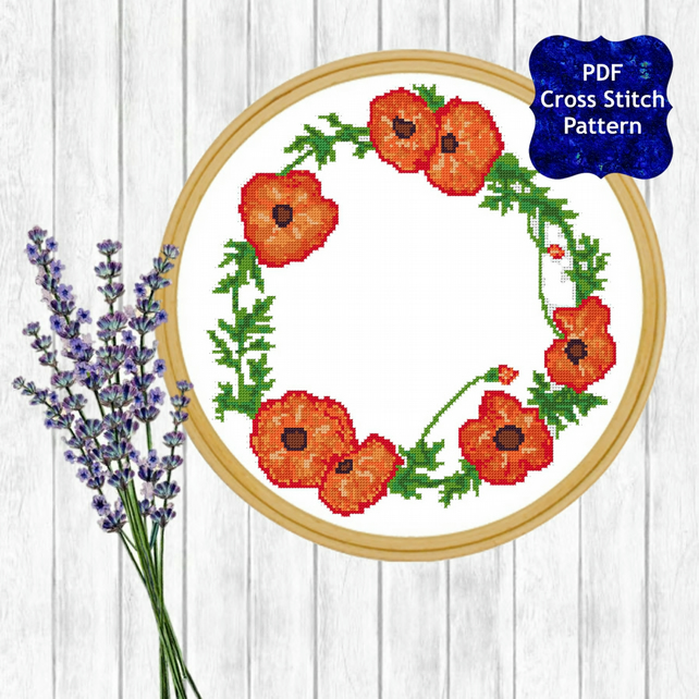 Watercolour Poppy Wreath Cross Stitch Pattern - ZIP, PDF - E-Mail