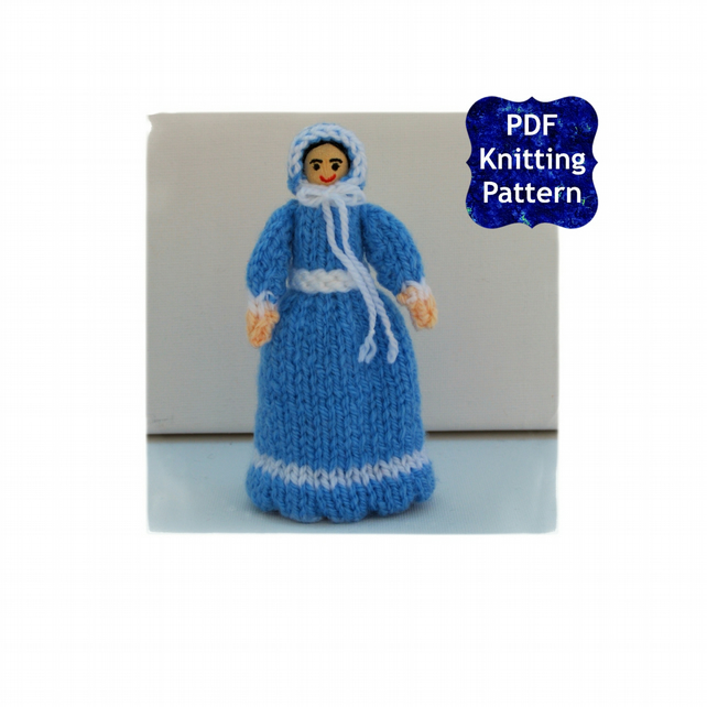 Victorian Peg Doll - Blue Victorian Dress - Knitting Pattern - PDF E-Mail