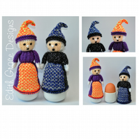 Toy Knitting Pattern - Halloween Witch Doll Egg Cosy - PDF, E-Mail