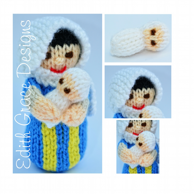 Toy Knitting Pattern - Nativity Mary Doll & Baby Jesus Doll - PDF E-Mail