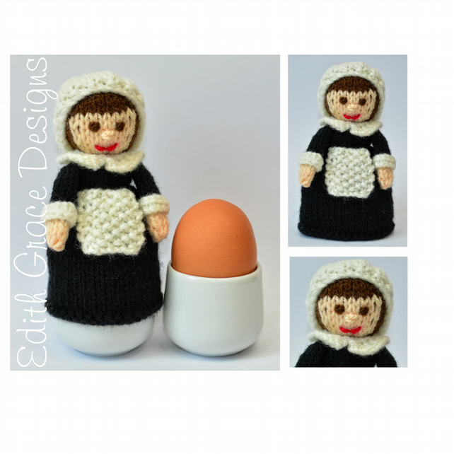 Doll Knitting Pattern - Pilgrim Doll Egg Cosy - PDF - E-Mail