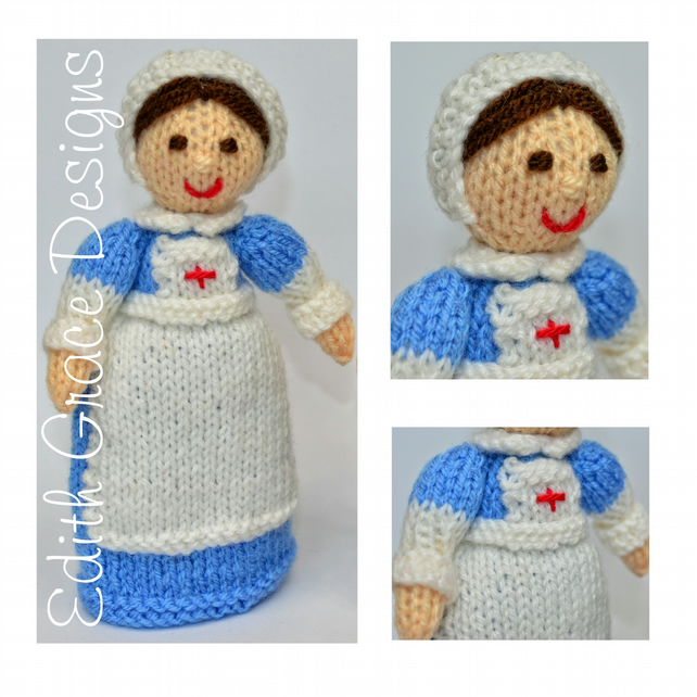 Toy Knitting Pattern - WW1 Red Cross Nurse Doll - PDF E-Mail