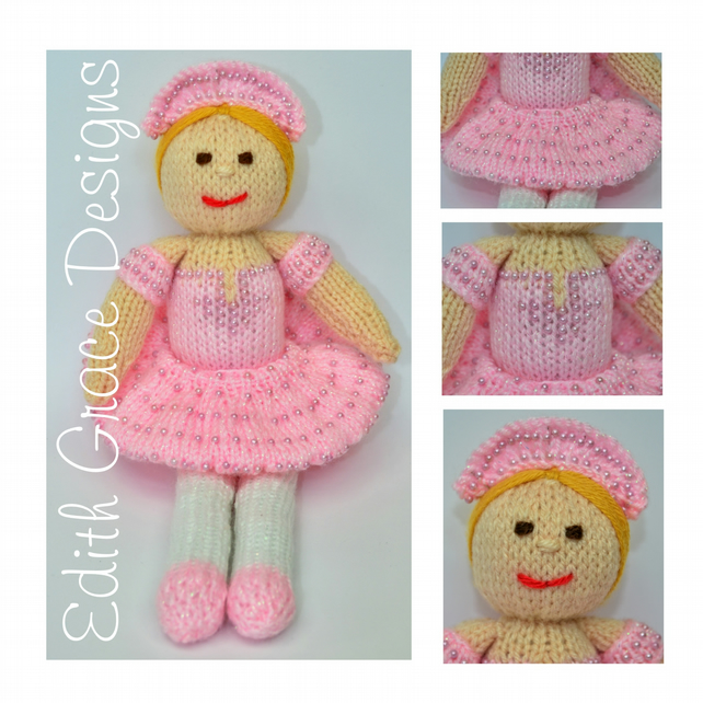 Knitting Pattern Ballerina Doll : Toy Knitting Pattern - Betsy Ballerina Doll - P... - Folksy