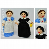 Red Cross Nurse & Florence Nightingale Doll Knitting Pattern