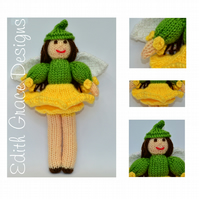 Toy Knitting Pattern - Daffodil Fairy Doll - PDF E-mail