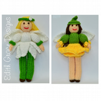 Toy Knitting Pattern - Flower Fairy Dolls - ZIP, PDFs E-Mail