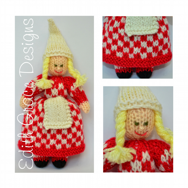 Chequered Christmas Elf Doll Knitting Pattern