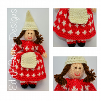 Knit Doll - Danish Cross Christmas Elf Doll