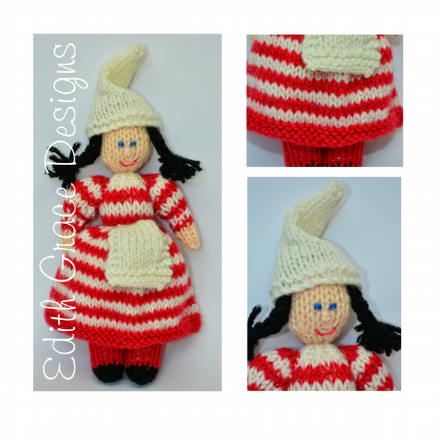 Striped Christmas Elf Doll Knitting Pattern