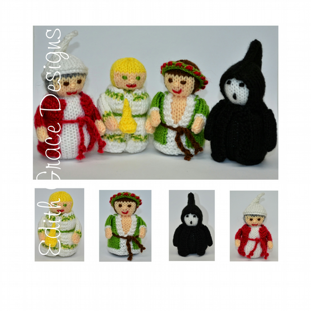 Toy Knitting Pattern - Christmas Carol Dolls - Charles Dickens - PDF E-Mail
