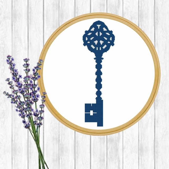 Modern Cross Stitch Pattern - Victorian Key Cross Stitch Pattern - PDF E-Mail