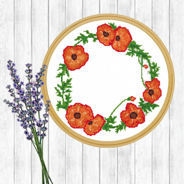 Modern Cross Stitch Pattern - Watercolour Poppy Wreath - ZIP, PDF - E-Mail