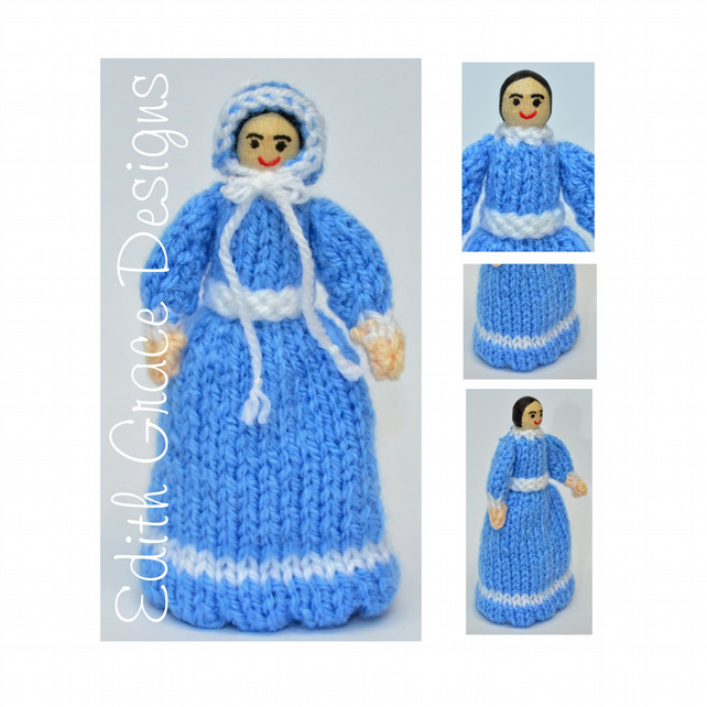 Toy Knitting Pattern - Victorian Peg Doll - Blue Victorian Dress - PDF E-Mail