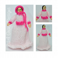 Victorian Peg Doll - Pink Victorian Dress Knitting Pattern