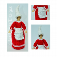 Christmas Elf Peg Doll - Learn to Knit - Knitting Pattern
