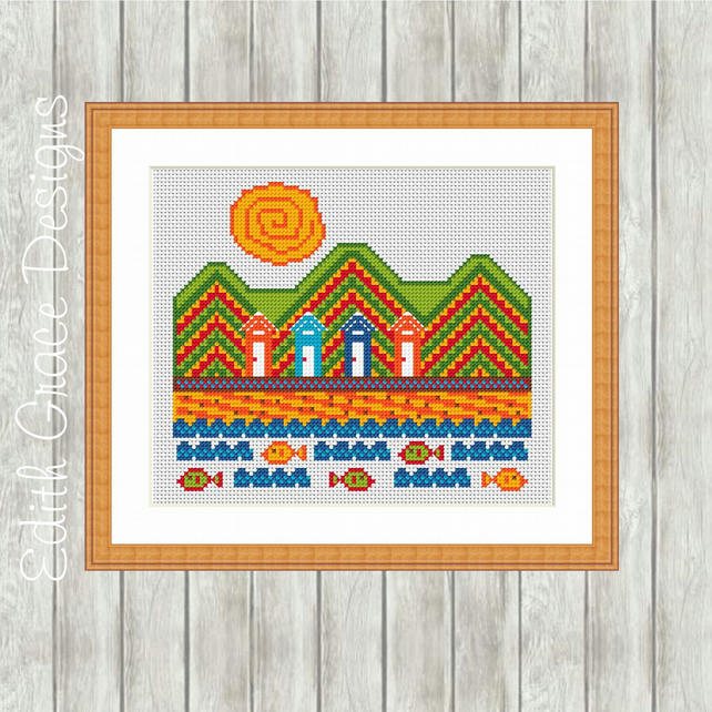 Beach Folk Art Cross Stitch Pattern