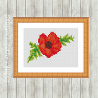 Counted Cross Stitch Pattern - Red Poppy