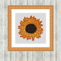 Counted Cross Stitch Pattern - Yellow Sunflower