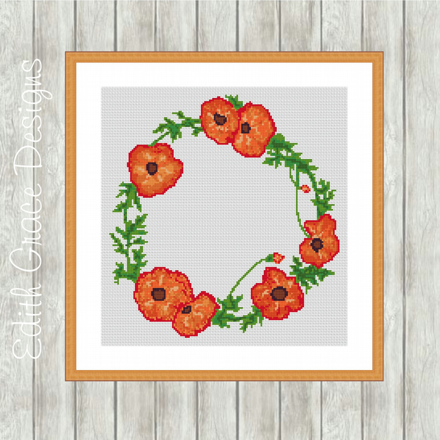 Watercolour Poppy Wreath Cross Stitch Pattern