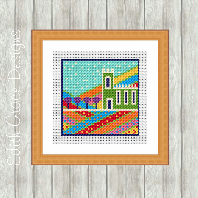 Counted Cross Stitch Pattern - Folk Art English Church