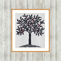 Counted Cross Stitch Pattern - Blue Tree