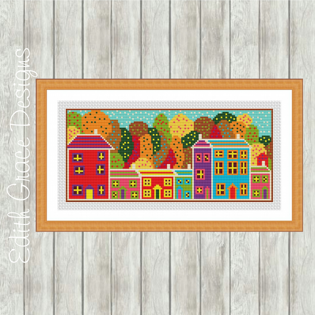 Autumn Trees English Street Folk Art Cross Stitch Pattern