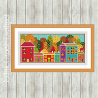 Counted Cross Stitch Pattern - Folk Art Autumn Trees