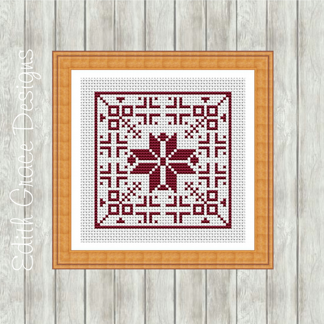 Red Dutch Cross Stitch Pattern