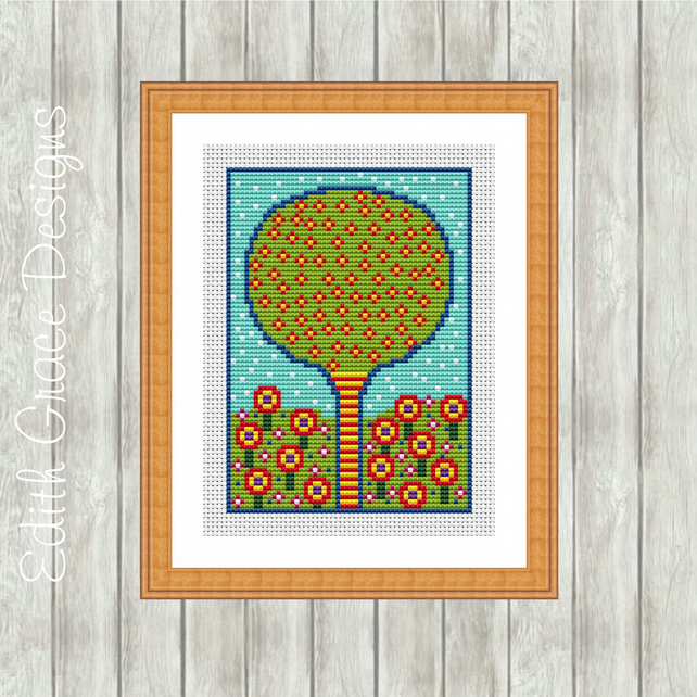 Folk Tree & Flowers Modern Cross Stitch Pattern