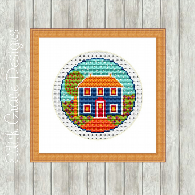 Counted Cross Stitch Pattern - Folk Art Country Cottage