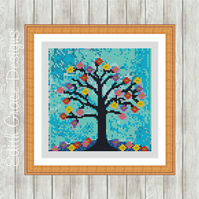 Night Tree Folk Art Modern Cross Stitch Pattern