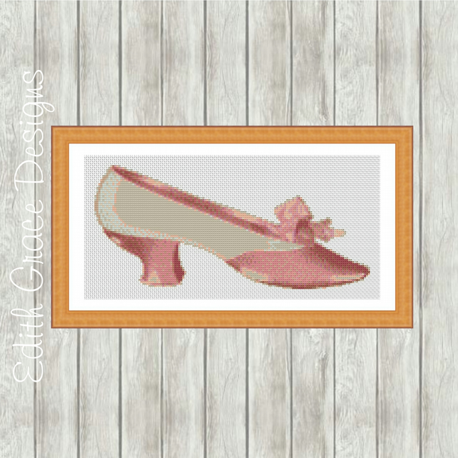 Pink Victorian Shoe Modern Cross Stitch