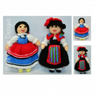 Swiss & Bulgarian National Costume Folk Dolls Knitting Pattern