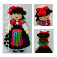 Swiss National Costume Folk Doll Knitting Pattern