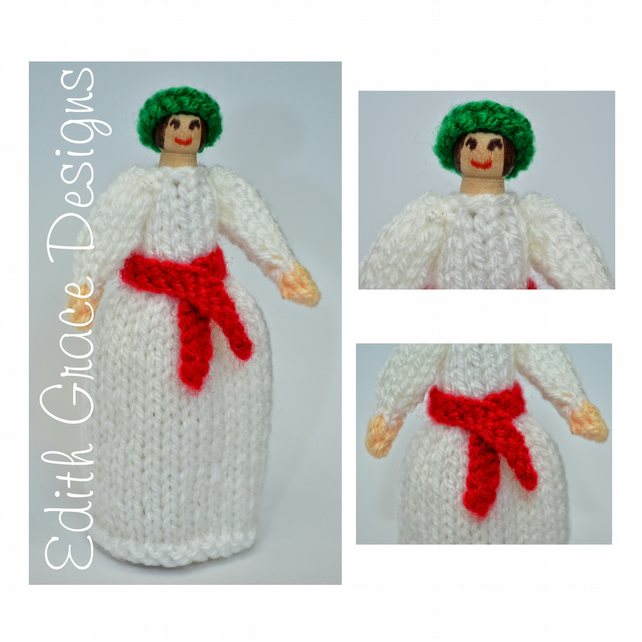 St Lucia Christmas Peg Doll Knitting Pattern