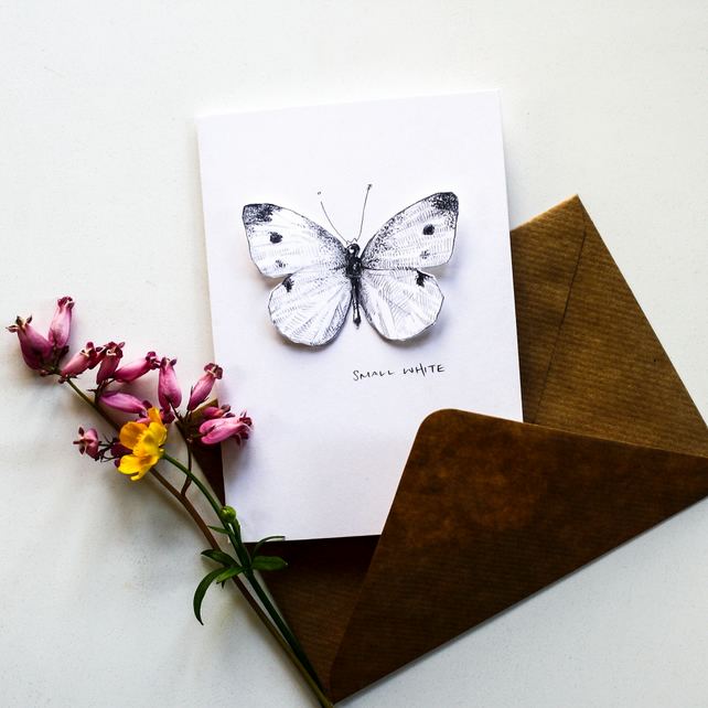 Small White Butterfly - Pop Up Card