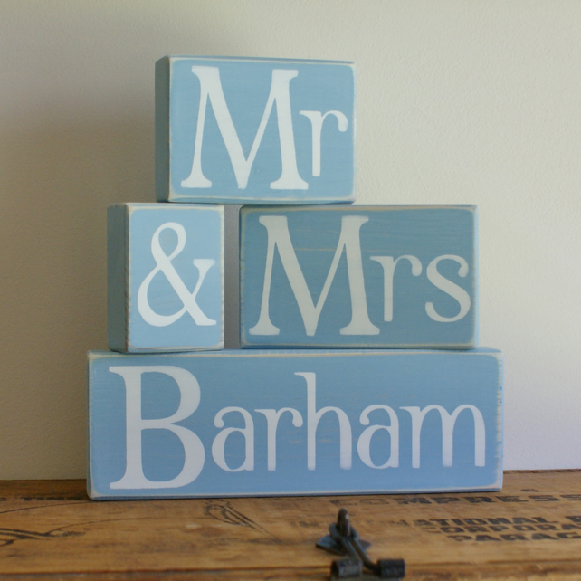 Personalised mr mrs shelf sitter wedding folksy for Personalised mr and mrs letters