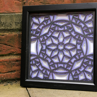 Framed Purple Geometric Layered Paper Cut