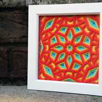 Framed Rainbow Geometric Layered Paper Cut