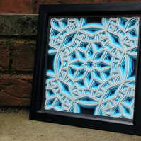 Framed Blue Geometric Layered Paper Cut