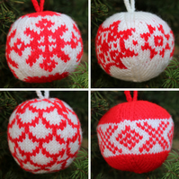 Hand Knitted Christmas Baubles - Set of 4