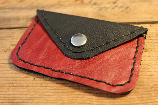 Dark Red and Black Leather Purse