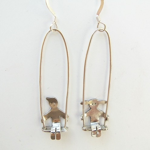 Silver Little People Swing Earrings